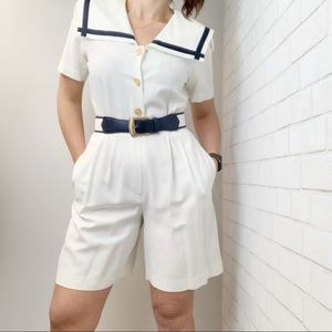 Vintage JSJ Belted Sailor shorts Romper P25